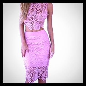 moxeay Skirts - 2 Piece Lace Crop Top & Skirt